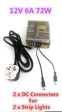 12v 6a Mw fuente de alimentación Adaptador De Cargador, 2 X Dc Conectores Para 2 X Tira Luces