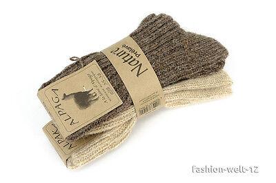 2 Paar Alpaka Socken Wollsocken gestrickte Wintersocken Dick und Fein Neu!!