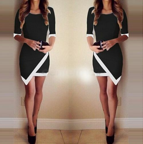 Slim Bodycon Dress Women Asymmetric Bandage Sexy Evening Party Cocktail Dress