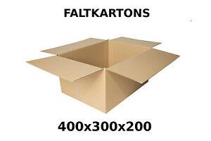 100 faltkartons 400 x 300 x 200mm post versand paket verpackung schachtel pappe ebay. Black Bedroom Furniture Sets. Home Design Ideas