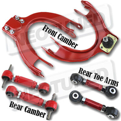 88-91 Honda Civic CRX EF Front Upper Arm w//Camber Rear Camber Kit Bar Red