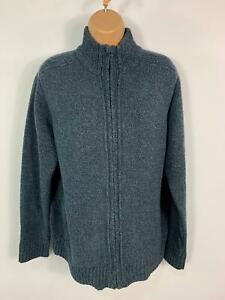 MENS-MARKS-amp-SPENCER-M-amp-S-BLUE-JUMPER-LONG-SLEEVED-CREW-NECK-ZIP-UP-SWEATER-SIZE-M