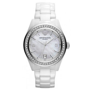 9088e6e17f Details about New In Box Emporio Armani AR1426 White Ceramic Crystal Analog  Ladies Watch