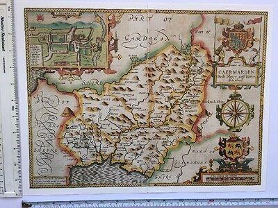 "Old Tudor map of Middlesex inc London John Speed 1600/'s 15/"" x 11 Reprint"