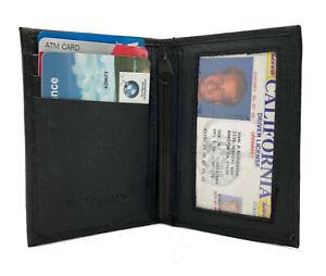 Black-Men-039-s-Leather-Thin-Bifold-Wallet-Credit-Cards-Holder