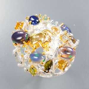 Black Opal Ring Silver 925 Sterling Fashion women ring Size 6.75 /R136658