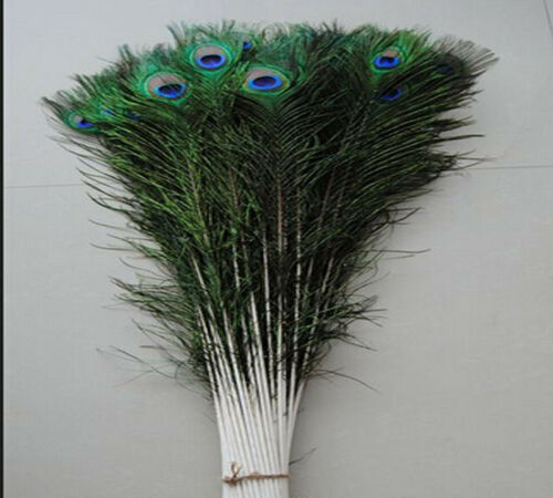 Wholesale10-1000 PCS 45-55cm//18-22inches Natural Color Peacock Feathers Eyes