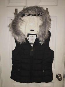 Details zu Nwt Hollister von Abercrombie Damen Kunstpelz Kapuze Puffer Weste Jacke S BLACK