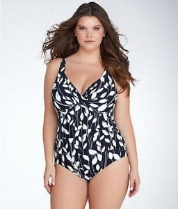f899ec20958 NWT Anne Cole Swimsuit Bikini 1 one piece Plus Sz 22W Black White | eBay