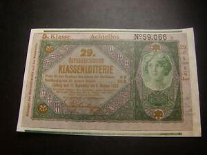 20-Kronen-29-Klassenlotterie-Achtellos-5-Klasse-Donaustaat-Osterreich-W-18-116