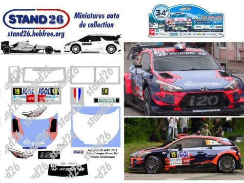 Decals Hyundai i20 WRC Loeb rallye Vosges Grand Est 2019 version shakedown 1//43e