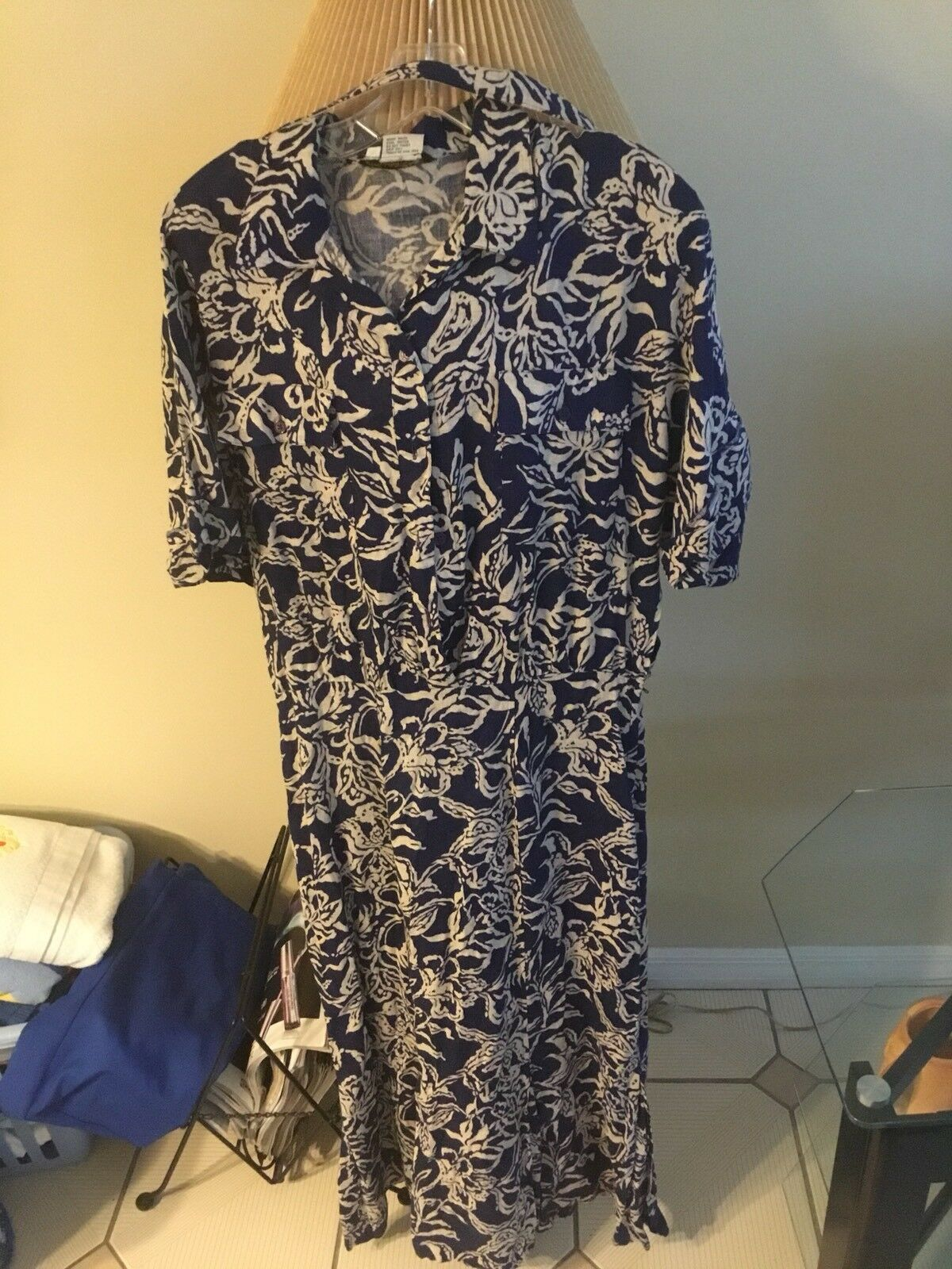 Vintage Dvf Diane Von Furstenburg Sz 14 Floral Dress With Belt Linen Blend Euc