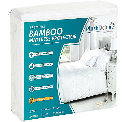 Bamboo Mattress Protector Waterproof Breathable Hypoallergenic Deep Pocket Cover