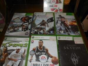 Lot of 7  XBOX 360  7 Games Battlefield 4 Skyrim Assassins Creed 4 Skate 3