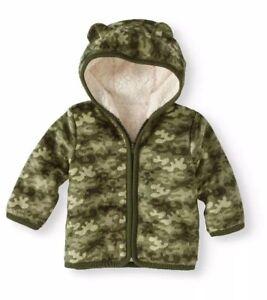 b74b55c79 Details about Healthtex Infant Boys Eared Cozy Fleece & Sherpa Hoodie  Jacket Size 6-9 Months