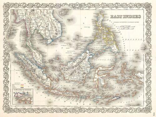 1855 COLTON MAP EAST INDIES SINGAPORE THAILAND BORNEO POSTER PICTURE 2914PYLV