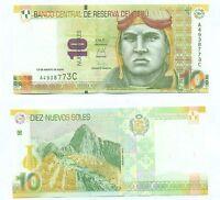 PERU NOTE 10 NUEVOS SOLES 2009 (2011) P 182 UNC