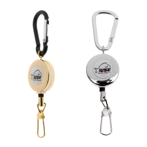 Stainless Steel Fly Fishing Zinger Retractable Carabiner Reel Cord String Clip