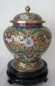 8-034-Beijing-Cloisonne-Cremation-Urn-Hong-Kong-Gold-Design-with-Blue-Trim-New