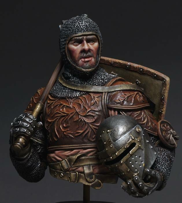 DG Artwork Italian Knight with Mace 14thC 1 10th Bust Unpainted kit