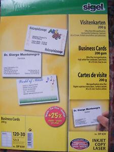 Details Zu Sigel Visitenkarten 85 X 55 Mm 200 G Qm Hochweiß Dp839 4004360924224