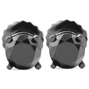 1-TCW-14k-Black-Gold-Round-Black-Diamond-Screw-Back-Studs-Earrings