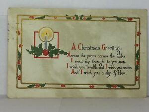 Christmas postcard friend Christmas poem postcard poem Antique 1900s postcard unused