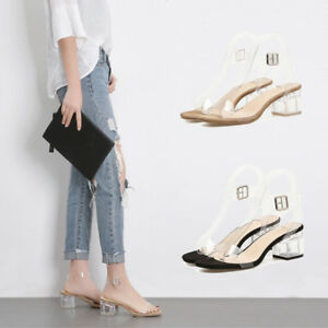 0adc9ebab8f Image is loading Womens-Transparent-Ankle-Strap-Buckle-Clear-Chunky-Block-