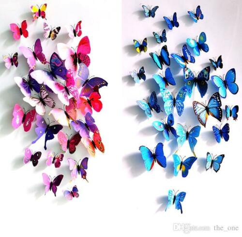 48pcs 4 Colours 3D Butterfly Magnet /& Wall Stickers Fridge Home Room Decor