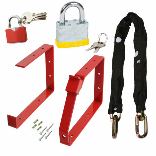 Complete Ladder Security Chain Kit Wall Brackets Locking Bar Padlock Set Keys