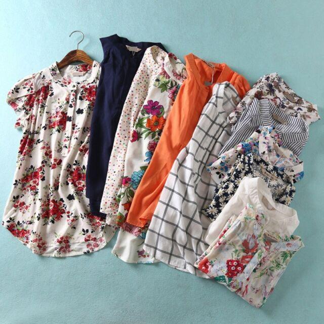 New Womens Summer Floral Polka Dot Print Short Sleeve Blouse Tops Shirt 12Colors