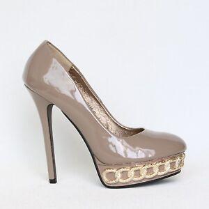 Damen Plateau High Heels Stilettos Pumps Lack 37 Braun Shoes Peeptoes 9446-P.