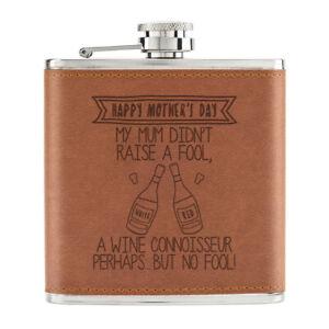 Happy-Fete-des-Meres-Vin-Connaisseur-170ml-Cuir-PU-Hip-Flasque-Fauve-Maman-Rouge