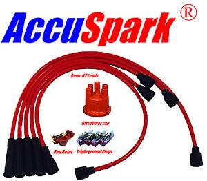 Opel Manta B RED HT leads, AV86C Sparkplugs, Red Rotor & Distributor Cap BOSCH