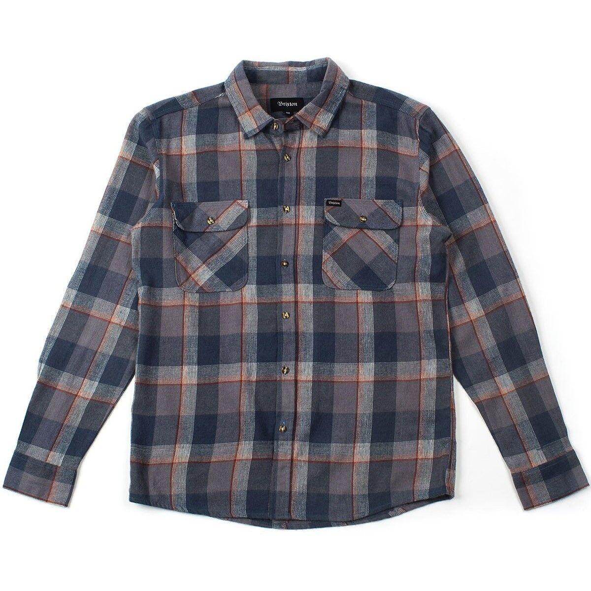 Brixton BOWERY bluee Slate Rust Plaid L S Flannel Button Down Men's Shirt