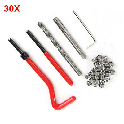 30x Gewinde Reparatur Werkzeug Satz Bohrer Helicoil Auto Motor M6 30 Tlg Set