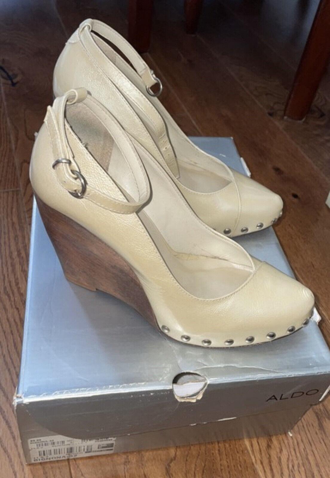 Ladies Aldo Cream Leather Wedges Size 3 Good Condition