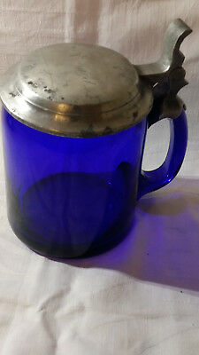 423- Krug Pokal Glas, Kobald-blau Biedermeier (?), Mit Zinndeckel - Richard üBerlegene (In) QualitäT