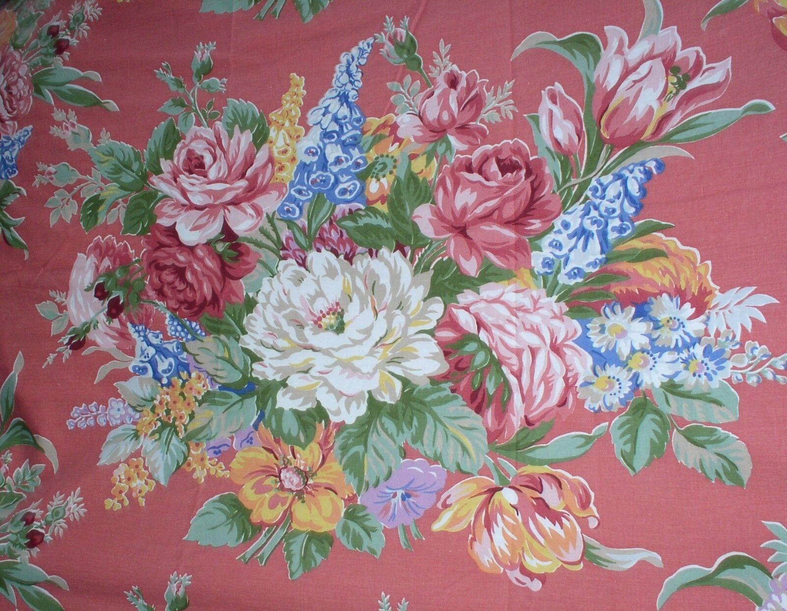 Ralph Lauren MELISSA Red FULL Flat Sheet Floral pinks Rare