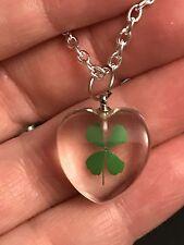 "4 Leaf Clover Shamrock Clear Small Heart Charm Tibetan Silver 18"" Necklace C40"