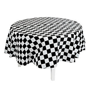 Racing Car Party Table Cover Chequered Flag Round Tablecloth Plastic Tablecover Ebay