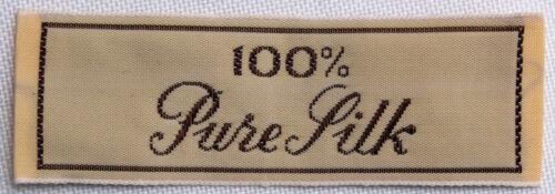 "5 Count Garment Labels /""100/% Pure Silk/"" Cloth Sew-in Labels U001.36-5labels"