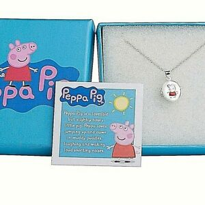 """Peppa Pig Sterling Silver Pendant Necklace 14"""" Trace Chain Kids  Necklace Gift"""