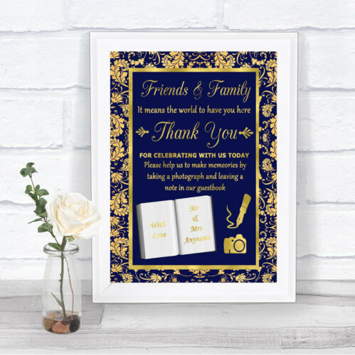 Gold /& Blue Ethnic Damask Photo Guestbook Friends /& Family Wedding Sign Print