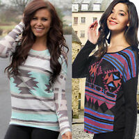 Womens Geometry Printed Long Sleeve Shirt O-Neck Casual Blouse Pullover Tops Lot