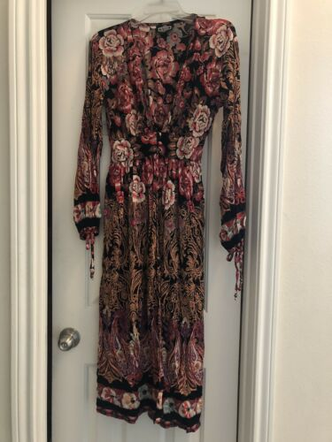 Long Angie Pink Brown Kimono Duster Peasant Blouse