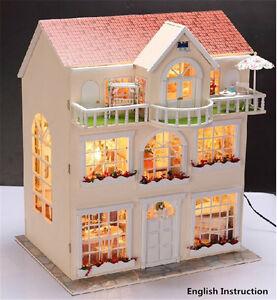 Wooden Miniature Dolls House Doll House Furniture Diy Kit W Led Large Villa Ebay