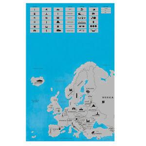 Wanddeko-Europakarte-zum-Rubbeln-in-blau-silber-rubbeln-Scratch-off-Rubbelkarte