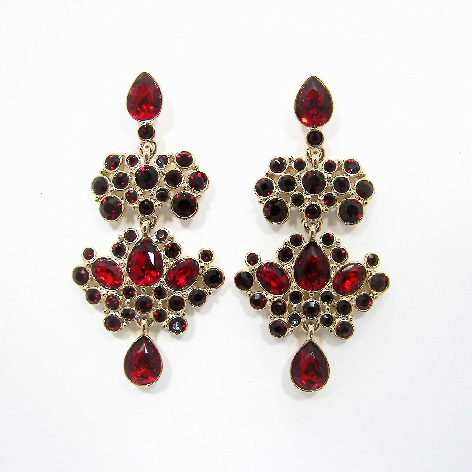 Givenchy Red Multi Crystal Chandelier Earrings gold Tone Metal MSRP  88