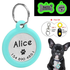Personalised-Dog-Tags-Disc-Disk-Glowing-Cat-Pet-Name-ID-Tag-Silencer-Bone-Round
